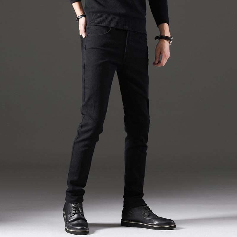 M3QOm Erkekler uzun pantolon ince rahat kot pantolon ve kot tarzı sonbahar ve kış 2019 sonbahar Koreli siyah moda markası