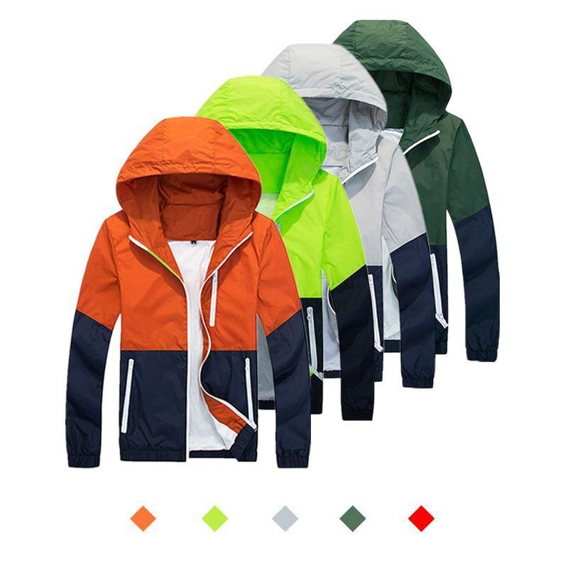 Herren-Jacken-Graben-Mantel Herbst Mode Jacke beiläufiger dünner Abschnitt Windbreaker Men Sun Protect Sonnenschutz mit Kapuze