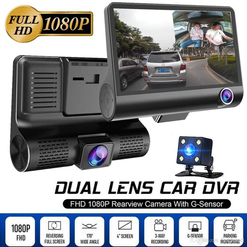 Voiture DVR 3 Caméras Objectif 4.0 Pouce Dash Caméra Double Objectif Avec Caméra De Recul Enregistreur Vidéo Registrator Auto Dvrs Dash Cam