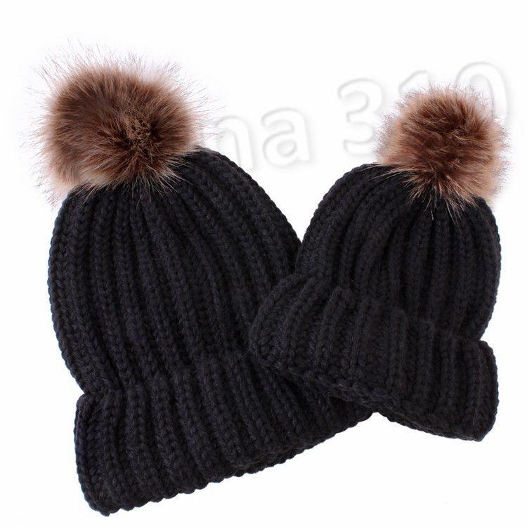 child Pom Pom Beanie Mother Kids Matching Knitting Wool Pom Winter women Warm cap Beanie Cap Skull Caps T2C5164