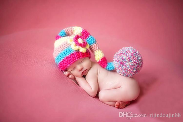 طفل صور الدعائم طفل صغير المولود الجديد التصوير الملحقات الطفل قبعة pompom مع ذيل طويل الوليد الحياكة قبعات الرضع صور الدعائم