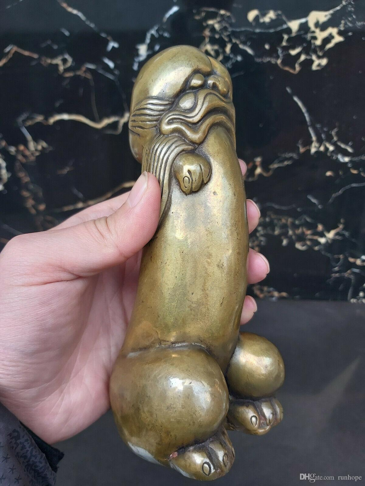 antique Natural Hand-carved YaoWuYangWei Chinese Tibet silver statue penis carved guard Foo Dog