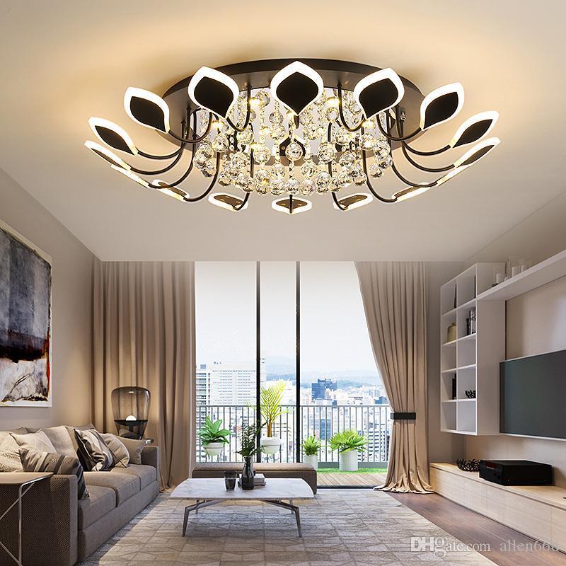 Crystal Light Petalo moderno semplice portato Lampada da soffitto Soggiorno Camera da letto della luce di soffitto di cristallo di casa ha portato illuminazione lampade Nordic