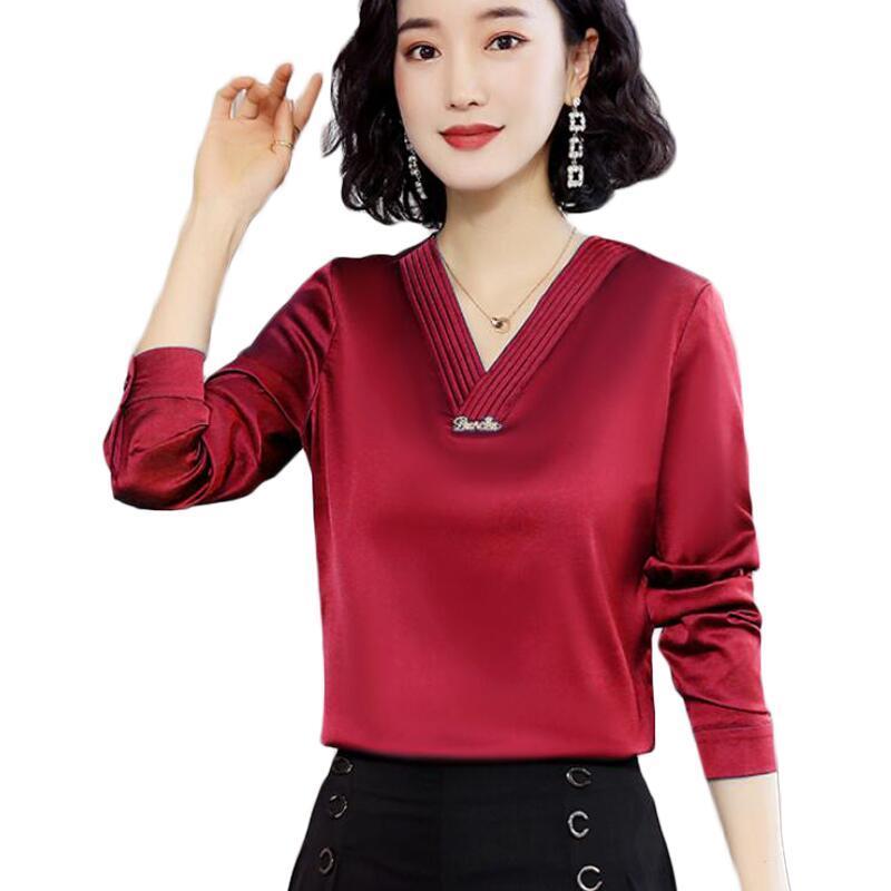 كم طويل الخامس الرقبة المرأة البلوزات مكتب فوج الحرير بلوزة المرأة القمصان الكورية بالاضافة الى حجم بلوزة من الشيفون المرأة بلايز Camisas موهير