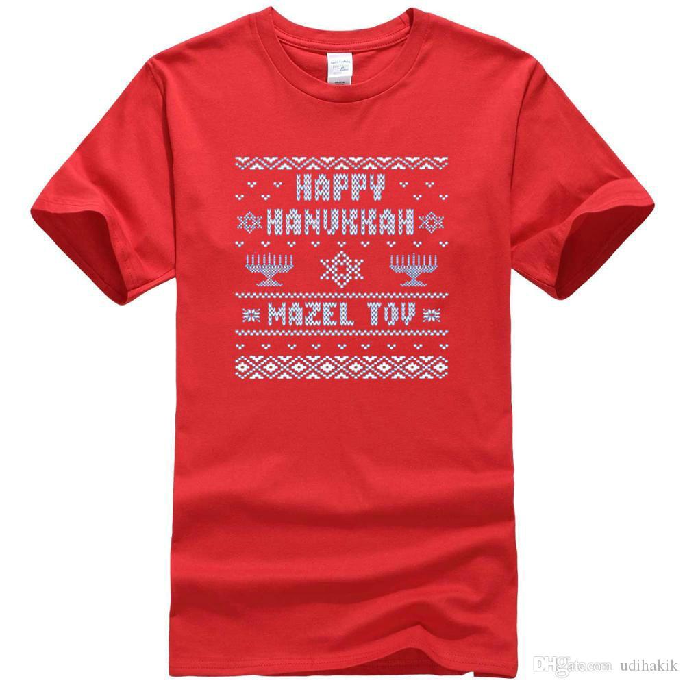 Jewish Christmas Sweater.2018 Jewish Hanukkah Ugly Christmas Sweater Jew Mens T Shirt Printed T Shirts Men S Streetwear Retro T Shirt Design Tee Shirts From Udihakik Price
