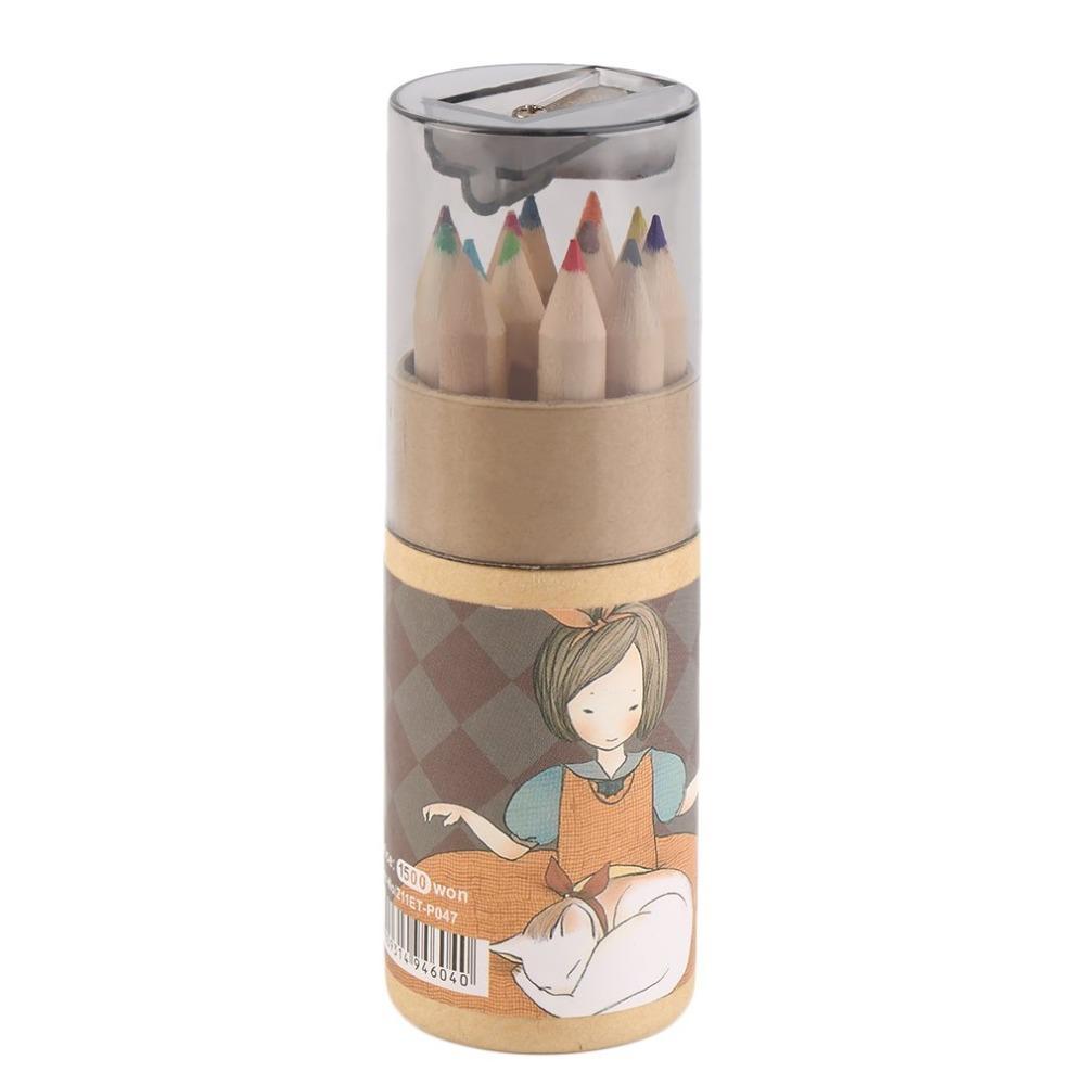 12 Los diferentes colores de lápiz conjunto con los sacapuntas Lápices de pintura portátil para Suministros niños duradero escuela de la oficina
