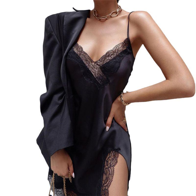 Kadın Pijama 2021 Kadın Nightgowns Seksi Gecelikler Dantel Patchwork Camisola Lingerie Nighty Düğün Ipek Elbise Uyku Aşınma Gecelik Clot