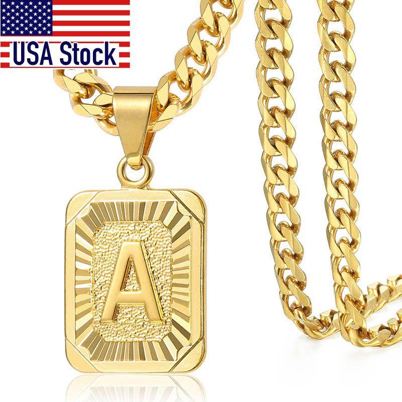 2020 Pendente lettera a b c fascino dell'oro collana per le donne gli uomini Cuban Catena Dropshipping GPM05C