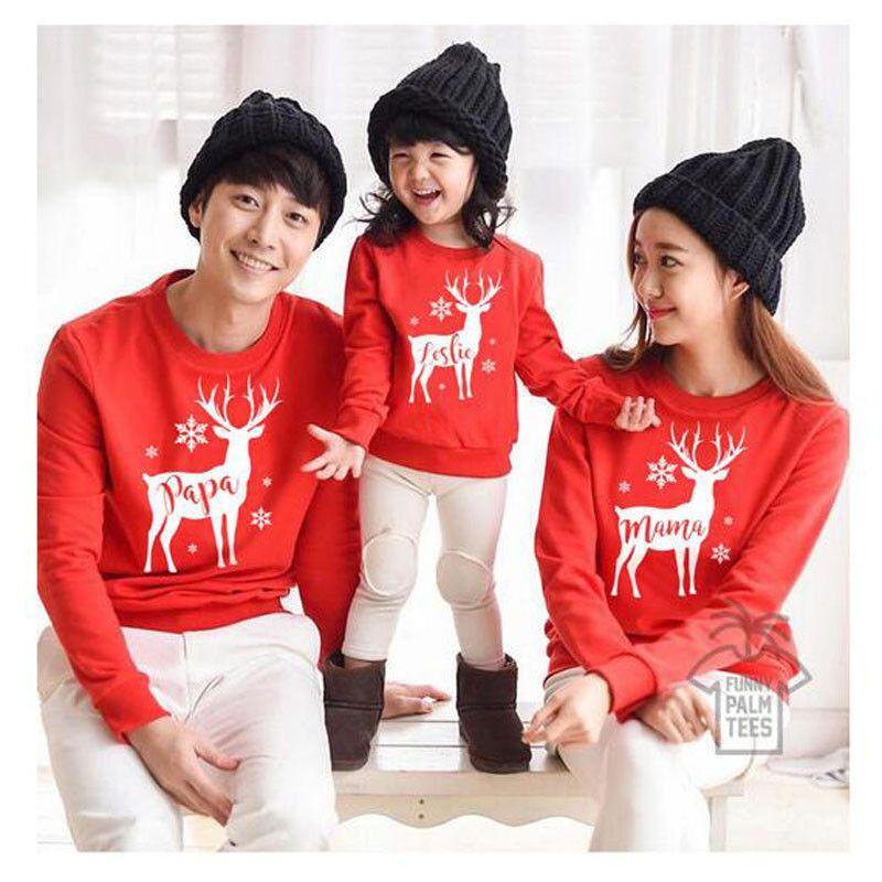 Weihnachtsfamilie Kleidung Weihnachten Familie Passendes Outfit T-Shirt Papa Mutter-Kind-Kostüm Hoodies Red niedlich oben SNOW deer Sweatshirt