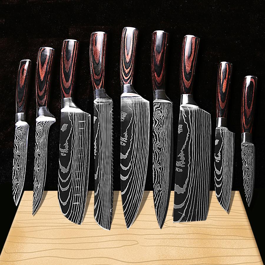 grossista 7Cr17MOV lama giapponese coltelli da cucina Laser Damasco modello Chef coltello affilato Santoku Cleaver Slicing Coltelli strumento EDC