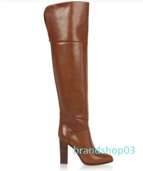 Горячая распродажа-натуральная кожа Осень Зима женщины бедро высокие сапоги толстый каблук выше колена сапоги для плюс размер Женская обувь коричневый и черный