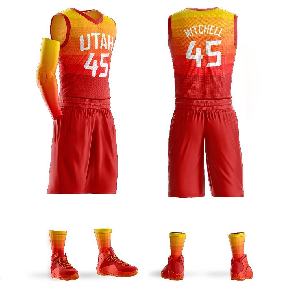 Fashion-2018 erkek Gençlik Özel Basketbol Formaları Setleri Donovan Mitchell Jersey Mor Basketbol Gömlek Özelleştirilmiş Tasarım Toptan