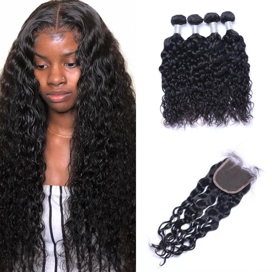 Indian Virgin Human Hair Water Wave 4 Bundles with Closure Cheap Wet and Wavy Hair Weaves 10-26 inch