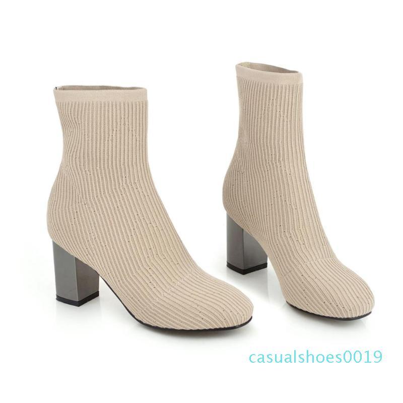 2020 Mode Printemps Femmes Bottes Beige Bottes bout pointu fil élastique cheville talons épais Chaussures Femme Automne Hiver Chaussettes C19