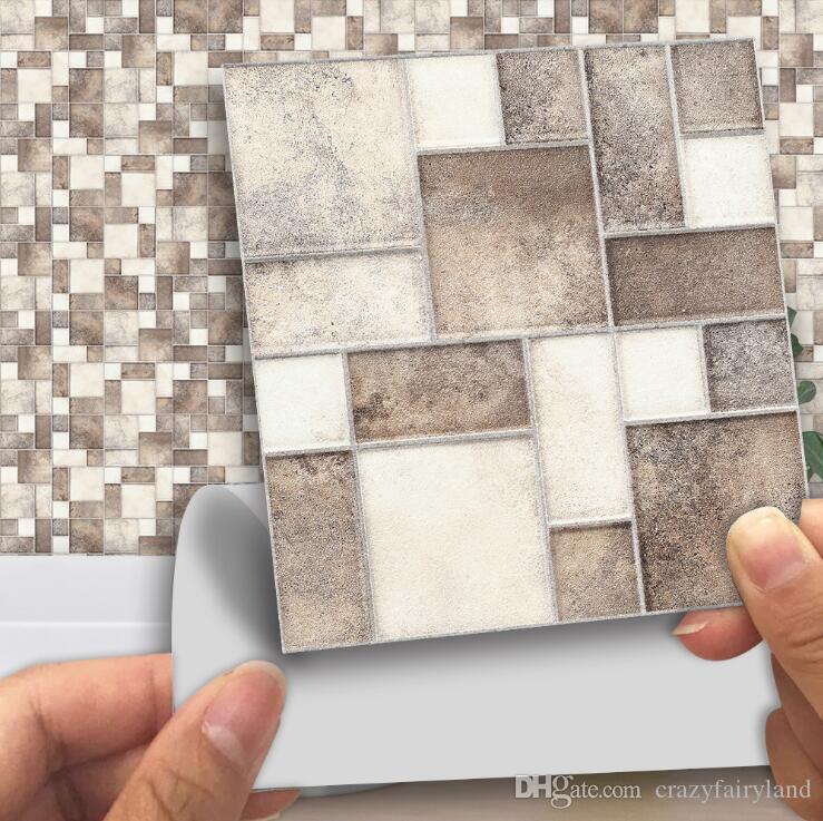 Çini Çıkartma 10 * 10cm Kare Dikiş Çini Su geçirmez Wall Art Banyo Mutfak Kafeler Odası Dekoru DIY Mozaik Çini Sticker Duvar Çıkartması