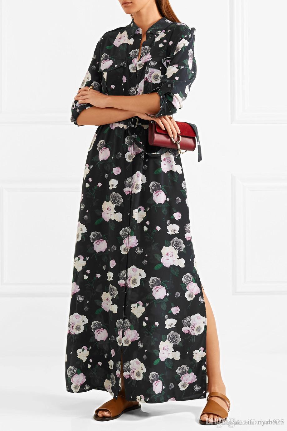 2017 цветы 100% шелк длинные рукава отложной воротник цветочный принт с карманом пояс длина Пола леди платье мода EQ блузка рубашки S102