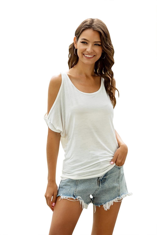 Mujeres camiseta del verano casual de manga corta remata tes atractivo del hombro de la camiseta del O-cuello flojamente más 3XL Blusas