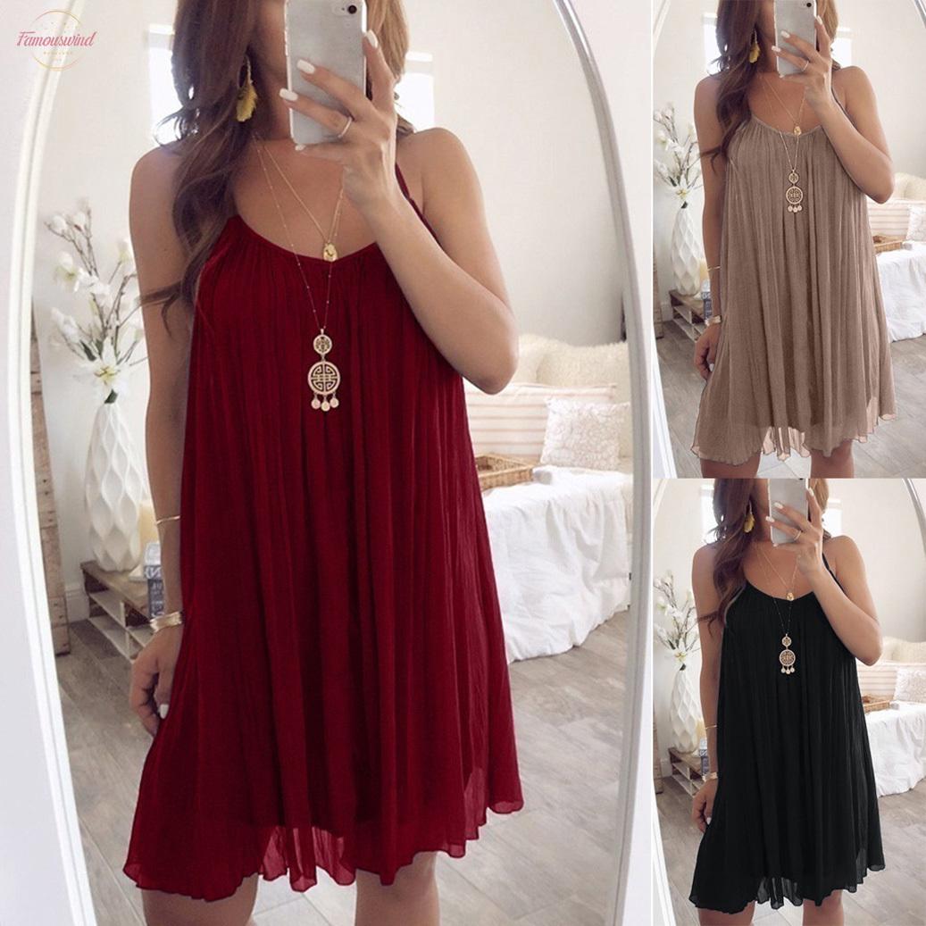 Allentato chiffon Moda New Spring casuale del mini vestito di alta qualità della bretella Vestito estivo solido Tre colori S xxxxxl Plus Size