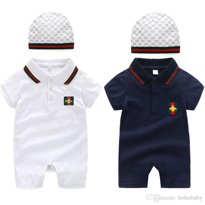 New Summer Cute Newborn Clothes Set Baby Cotton Rompers+Hat 2Pcs Outfit Fashion Baby Boy Girl Clothing Set
