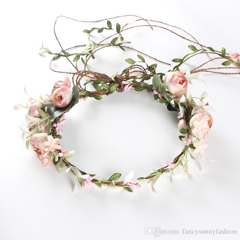 Flor ajustable Corona Rosa halo BOHO cintas para la cabeza de las niñas de la boda festival de maternidad fotos cabeza Guirnalda pelo guirnalda 3 estilos