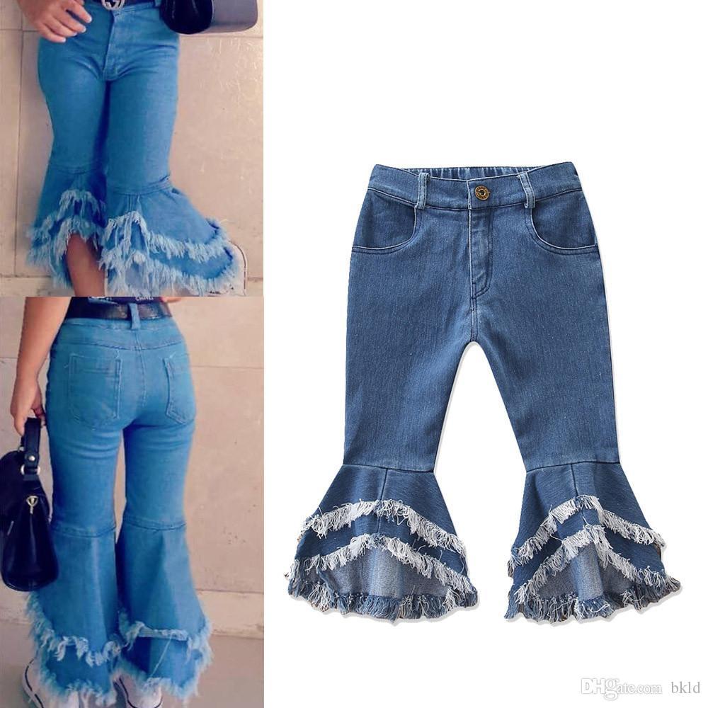 2019 Moda Infantil Denim Alargamento Pant Meninas Jeans calças compridas Criança Denim Ruffle Tassel Alargamento Pants Calças Calças