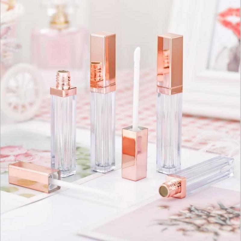 Caja 20pcs 5ml Lipgloss contenedores de plástico vacío Tubo de oro rosa Lipgloss Botella Delineador de ojos de pestañas de contenedores Mini brillo de labios de Split