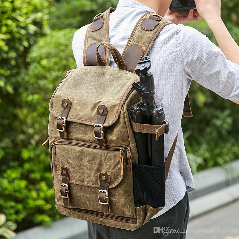 Color : Gray Backpack for Cameras Photography Bag Camera SLR Shoulder Photography Backpack Waterproof Large Capacity Wax Dye Canvas Backpack Outdoor Bag