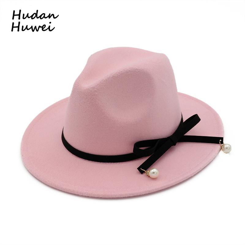 New European Women lã US Felt Fedoras Hat com arco pérola Belt Lady liso menina Brim Jazz Chapéu formal do partido de Trilby 10 cores