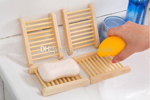 500PCS 자연 대나무 나무 비누 접시 나무 비누 트레이 홀더 저장소 비누 랙 접시 상자 컨테이너 목욕 샤워 욕실