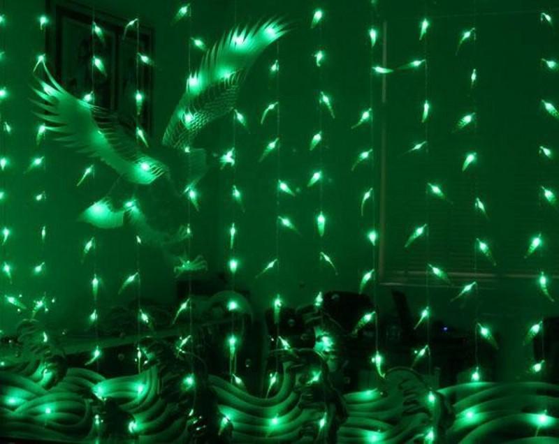3M 3M * 300 bulds قاد الأخضر LED الصفصاف الستار جارلاند سلسلة أضواء عيد الميلاد مصباح المرحلة الزفاف خلفية luminaria الديكور