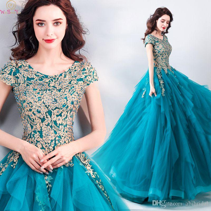 Fantastic Peacock blue Appliques Prom Dresses 2019 A Line Elegant Luxurious Handmade Beading Lace Up Long Evening Party Gowns