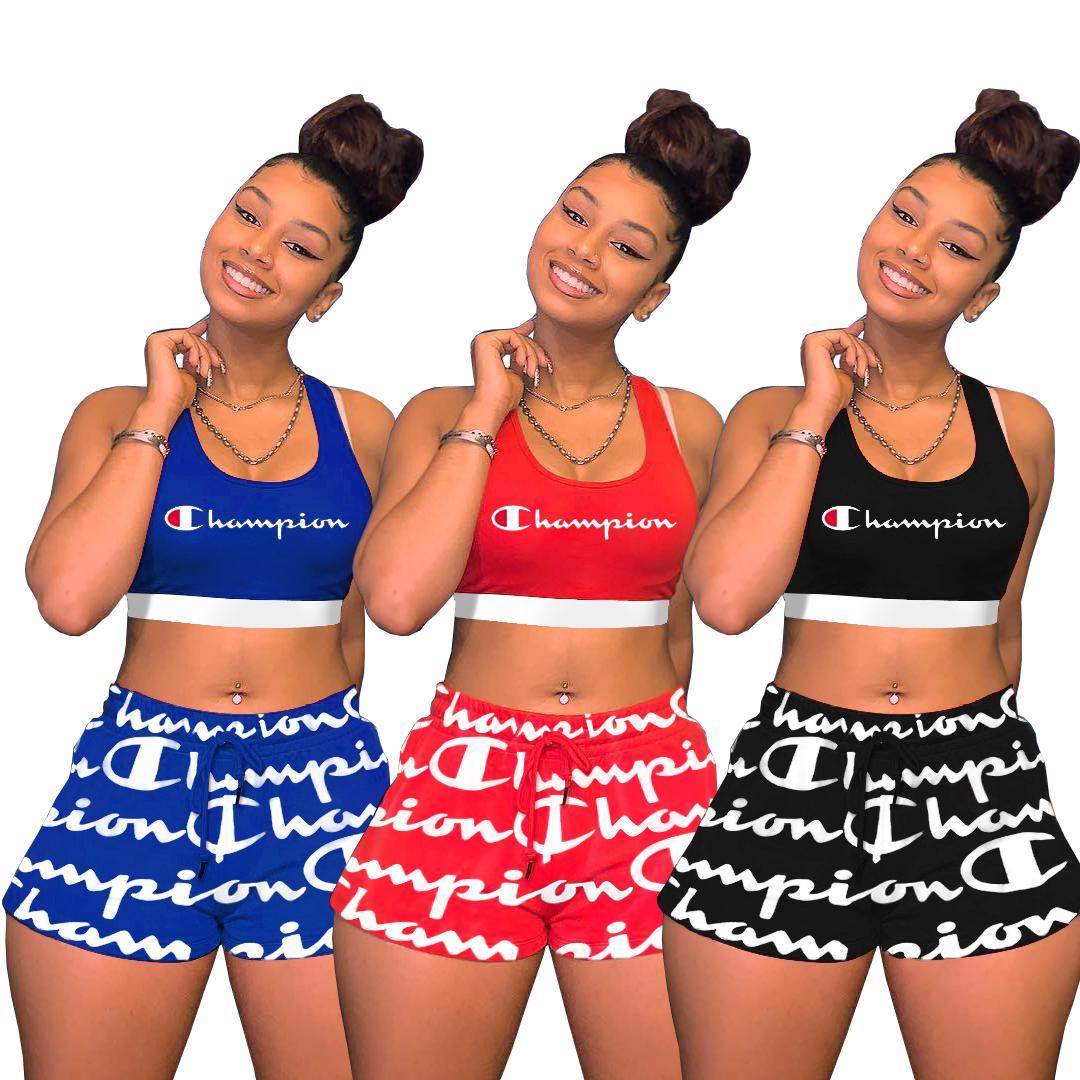 Champions Femmes Survêtement D'été Deux Pièces Court Ensemble Lettre Imprimer Sans Manches Gilet Crop Top Poche Pantalon Chaud Tenues Rouge Noir Bleu S-2XL