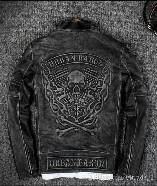 Vintage Black 3D Fiamma Pattern Skull Back Uomo Giacche in pelle da corsa 100% Giacche da moto in vera pelle