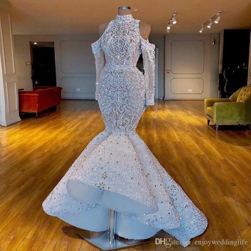 Роскошный Дубай Южноафриканский Арабский Русалка Свадебные платья Высокие Шеи Бисероплетенные Кристаллы Свадебные платья Длинные Рукава Свадельные платья