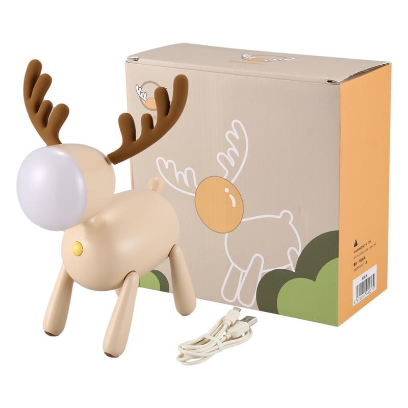Lampada ricaricabile Deer ha condotto la luce di notte del silicone del fumetto degli animali Usb per bambini Camera da letto Comodino Dimmable bianco latteo