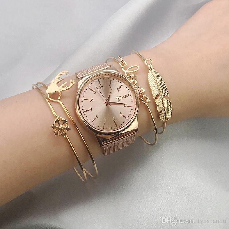 4Pcs / set Frauen-Gold Cuff-mehrschichtige Blatt-Liebe Schnee Elk Mehrschichtige Minimal Armband-handgemachtes Armband für Frauen BB342