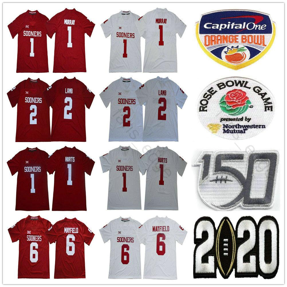 2020 Peach Bowl 150 ° NCAA Oklahoma Sooners Collegio 2 CeeDee Lamb 1 Kyler Murray 6 Baker Mayfield Jalen Hurts Rosso Bianco Calcio Maglie