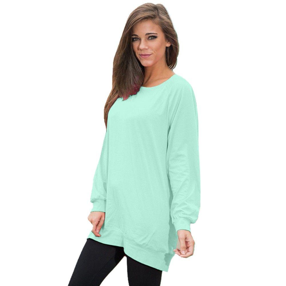 T-shirt da donna Feida 100% di alta qualità multi colori allentati donne manica lunga tunica tunica tunica maglietta da donna maglietta camiseta