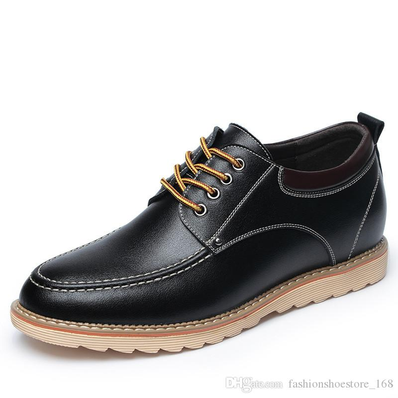 Man Shoes Leather Genuine Italian Elevator Shoes for Men Formal Dress Business Casual Leather Shoes High Quality Sneakers Sepatu Kulit Pria
