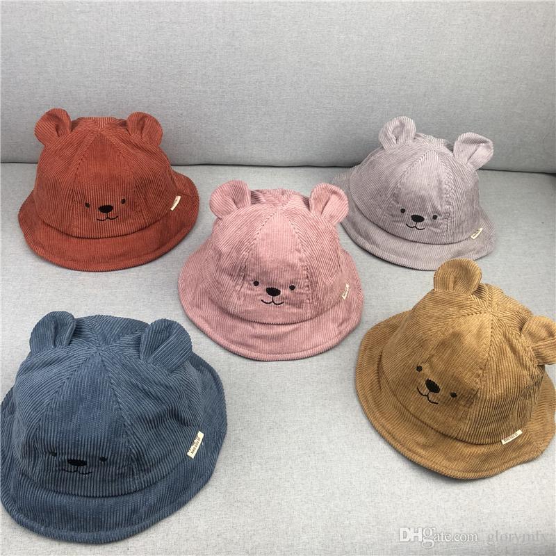 Sonbahar ve kış bebek havzası kap çocuk şapka çocuk balıkçı şapka erkek ve kız bebek ayı ayı şapka vizör