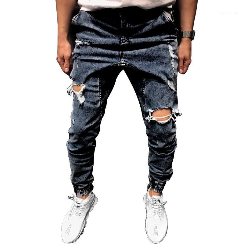 Designer di lusso foro moda jeans Skinny lungo blu matita uomini pantaloni casual Abbigliamento Slim Mens 2020