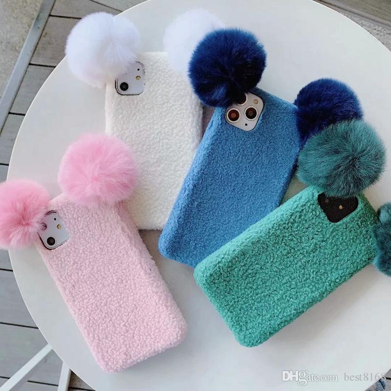 3D Sheep Fluffy Case For iPhone 11 Pro Max XR XS Max X 7 8 6 Plus Hair Fur Girl Cute Soft TPU Cartoon Back Cell Phone Covers Fashoin Luxury