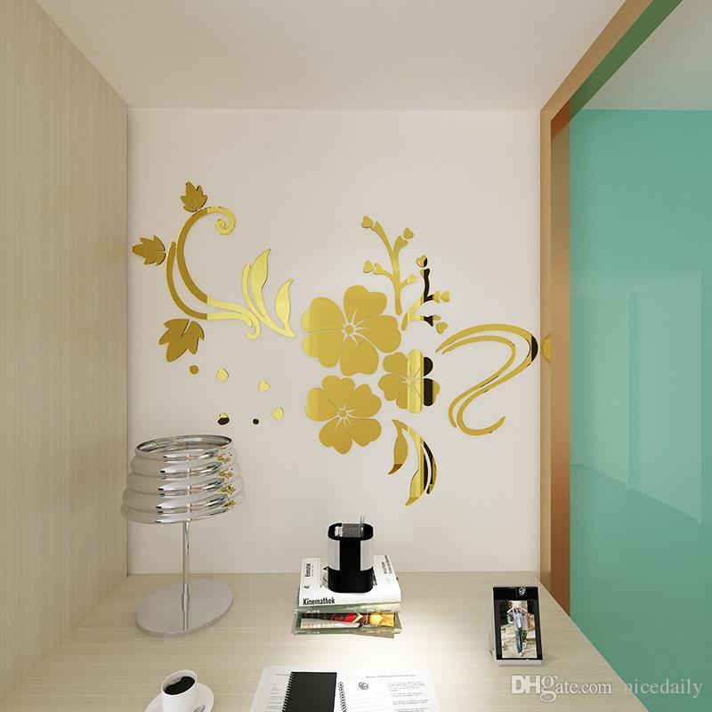 DIY Kendinden Yapışkanlı Çiçek Desen 3D Akrilik Ayna Tarzı Duvar Çıkartmaları Çıkarılabilir Çıkartması Vinil Sanat Duvar Sticker Yatak Odası Ev dekor