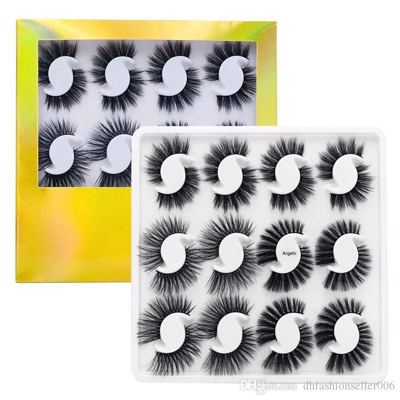 12 쌍 Eyelashs 자연 긴 3D 가짜 밍크 속눈썹 두꺼운 수제 전체 스트립 속눈썹 볼륨 소프트 밍크 속눈썹 가짜 속눈썹