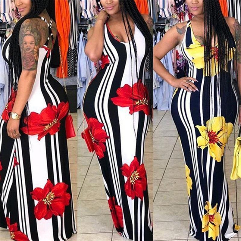 파티 Backless 그라운드 드레스 줄무늬 인쇄 V 넥 민소매 스커트 섹시한 여름 여성 캐주얼 홈 Clothes 29sn E1