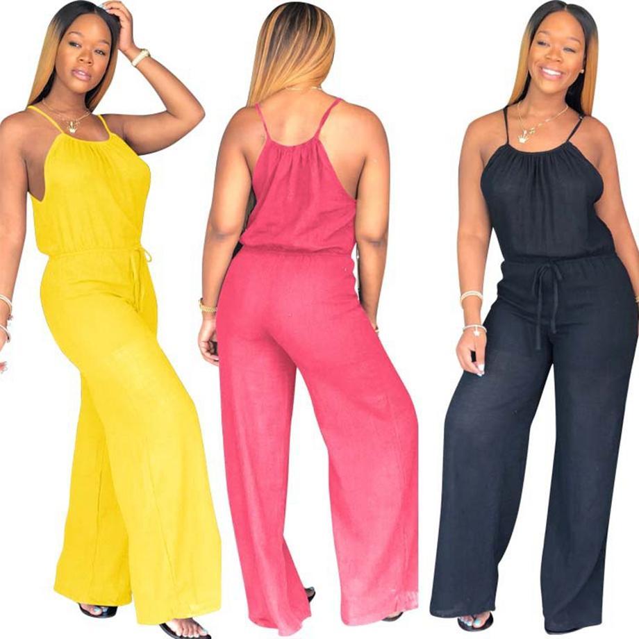 النساء Sleevless على نطاق واسع الساق وبذلة سروال جنسي نادي عارضة فضفاض الصلبة حزب Playsuit السيدات السروال القصير الزي AAA1996