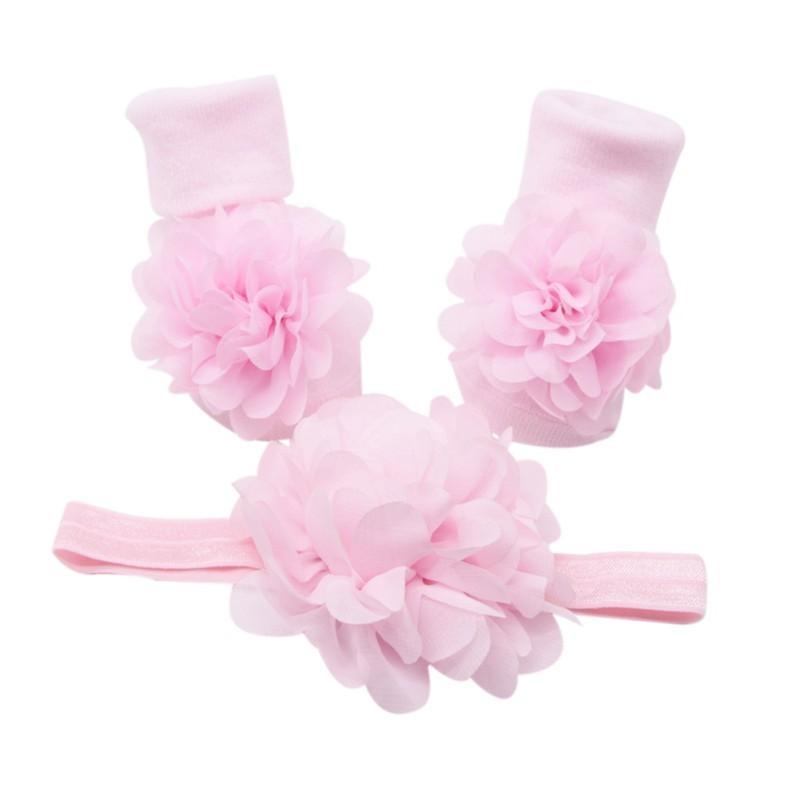 Usura del bambino Elastic Girl Hairband dei capelli dei bambini della fascia del fiore accessori dei capelli del bambino e carino pizzo floreale cotone Set Socks