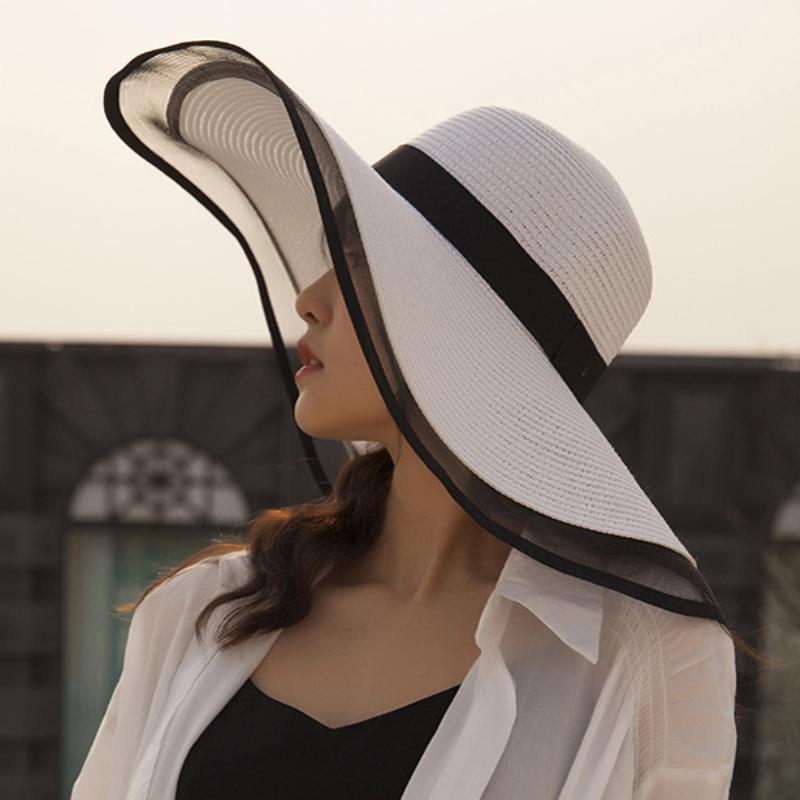 HT2504 Chapéu de Sol Verão anti-UV Lady aba larga Hat Mulheres contínuo liso flexíveis Verão chapéus de palha para as Mulheres Feminino malha Brim Praia Hat T200602