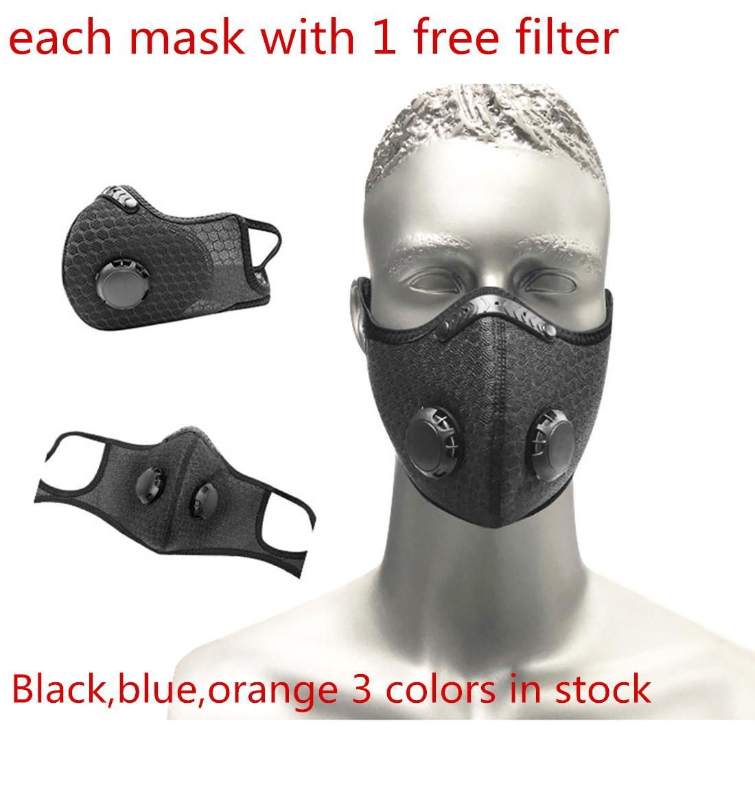 Máscara de deporte cara con filtro de carbón PM 2.5 Anti polución a prueba de polvo Máscara Deporte de Ciclismo de mascarillas
