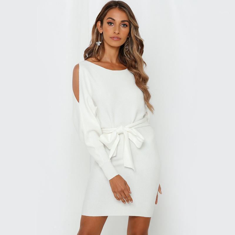 Langarm Solid Color Kleider Damen Kleidung Womens Designer Hip Kleider Mode Bow Bodycon Kleider Beiläufiges